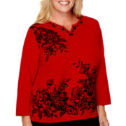 Alfred Dunner® Madrid 3/4-Sleeve Floral Flocking Sweater - Plus