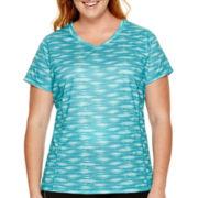 Made For Life™ Short-Sleeve Print V-Neck Mesh T-Shirt - Plus
