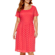 Liz Claiborne® Short-Sleeve Fit-and-Flare Dress - Plus