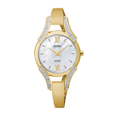 jcpenney.com | Seiko® Modern Jewelry Womens Mother-of-Pearl Crystal-Accent Watch SUP216