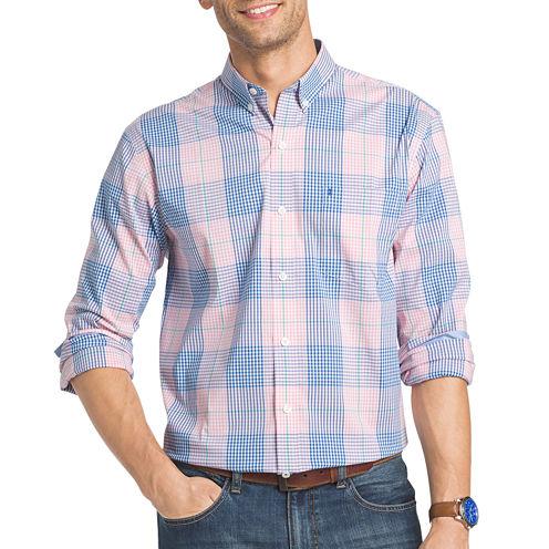 IZOD Advantage Prefromance Stretch Long Sleeve Plaid Button Front Shirt