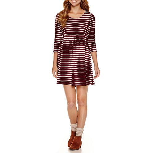 Arizona 3/4 Sleeve Babydoll Dress-Juniors