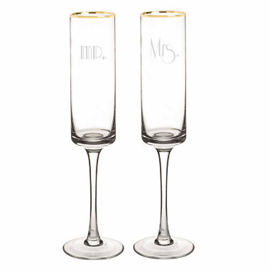 jcpenney.com | Cathy's Concepts Mr. & Mrs. Gold Rim Gatsby 2-pc. Champagne Flutes