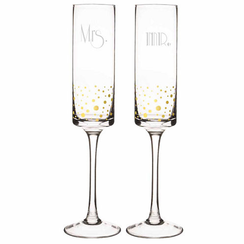 Cathy's Concepts Mr. And Mrs. Gold Dot Gatsby 2-pc. Champagne Flutes