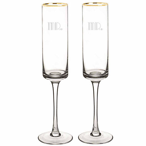 Cathy's Concepts Mr. & Mr. Gatsby Gold Rim Contemporary 2-pc. Champagne Flutes