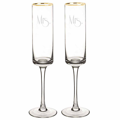 Cathy's Concepts Mrs. & Mrs. Gold Rim 2-pc. Champagne Flutes