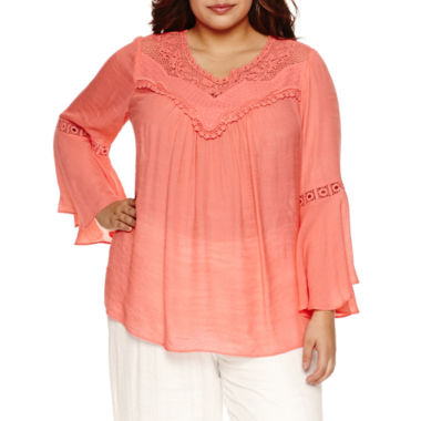 jcpenney.com | Alyx 3/4 Bell Sleeve Peasant Top-Plus
