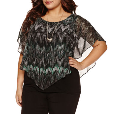 jcpenney.com | Alyx Short Sleeve Chevron Blouse with Necklace-Plus