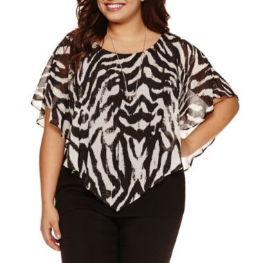 jcpenney.com | Alyx Short Sleeve Round Neck Woven Blouse with Necklace-Plus