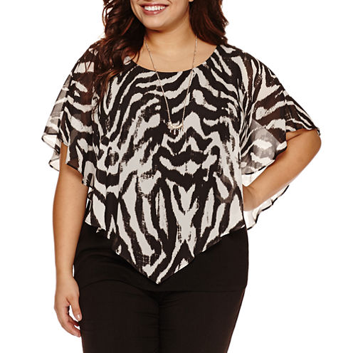 Alyx Short Sleeve Woven Overlay Blouse with Necklace with Necklace-Plus