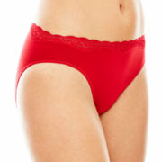 Ambrielle® Everyday Lace-Trim Seamless High-Cut Panties