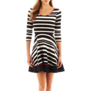 S.H.E. 3/4-Sleeve Fit-and-Flare Striped Dress