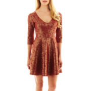 S.H.E. 3/4-Sleeve Quilted Foil Dress