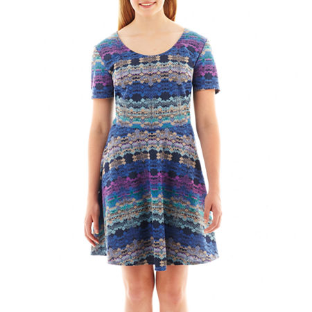 City Triangles Short-Sleeve Knit Skater Dress - Plus