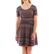 City Triangles® Short-Sleeve Print Skater Dress - Plus