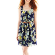 by&by Sleeveless Floral Print Dress