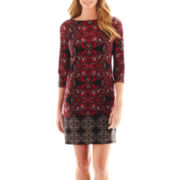 London Style Collection 3/4-Sleeve Print Ponte Knit Shift Dress