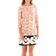 London Style Collection 3/4-SleevePetal Print Ponte Knit Shift Dress