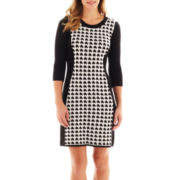 R&K Originals® 3/4-Sleeve Houndstooth Sweater Dress