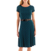 Perceptions Short-Sleeve Belted Chevron Fit-and-Flare Dress