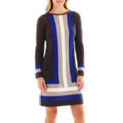 Jessica Howard Long-Sleeve Colorblock Sweater Dress
