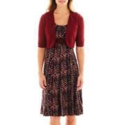 Perceptions 3/4-Sleeve Belted Print Dress with Jacket