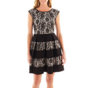 Tiana B. Cap-Sleeve Scuba and Lace Dress