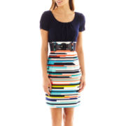 Alyx® Cap-Sleeve Two-Tone Belted Print Dress