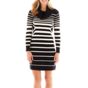 Studio 1® Long-Sleeve Striped Bodycon Sweater Dress