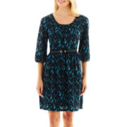 Alyx® Long-Sleeve Tuck-Front Print Belted Dress
