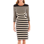 Danny & Nicole® 3/4-Sleeve Striped Sweater Dress