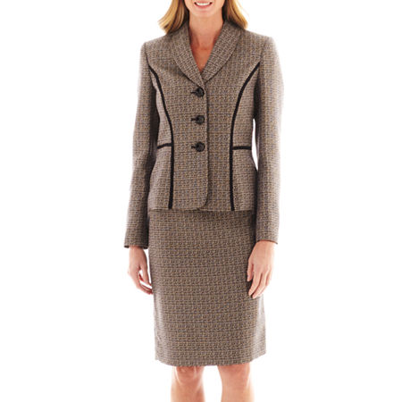 Le Suit Shawl-Collar Tweed Skirt Suit
