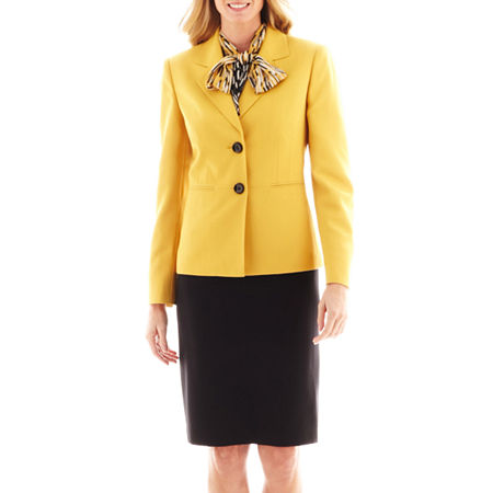 Le Suit Crepe Skirt Suit with Scarf