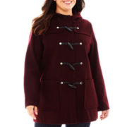Liz Claiborne® Wool-Blend Hooded Toggle Coat - Plus
