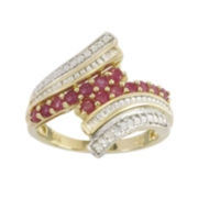 10K Yellow Gold Genuine Ruby & Diamond-Accent Bypass Ring