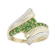 10K Yellow Gold Genuine Emerald & Diamond-Accent Bypass Ring