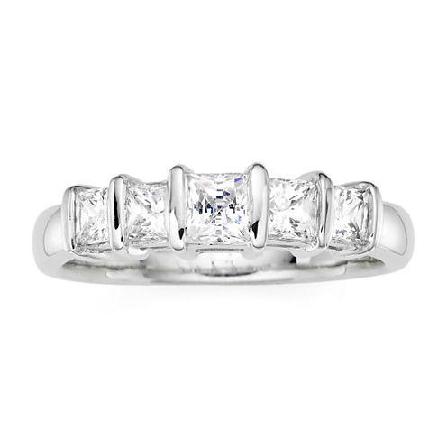 1 CT. T.W. Diamond 10K White Gold Princess 5-Stone Ring