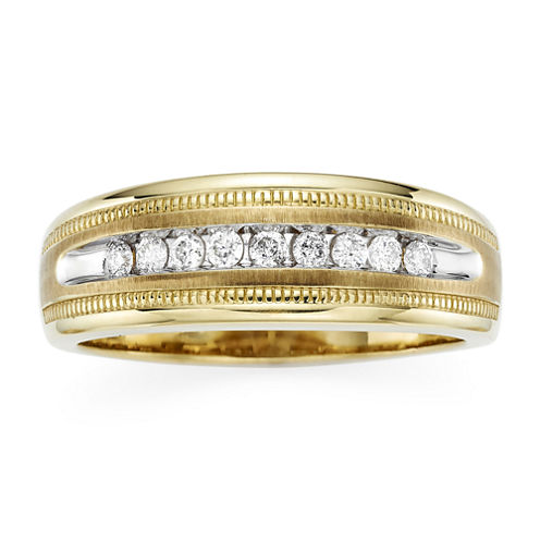 Mens 1/4 CT. T.W. Diamond 10K Yellow Gold Milgrain Ring