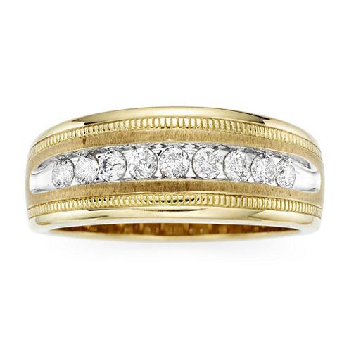 Mens 1/2 CT. T.W. Diamond 10K Yellow Gold Milgrain Ring