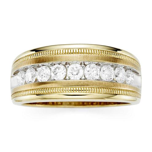 Mens 1 CT. T.W. Diamond 10K Yellow Gold Milgrain Ring