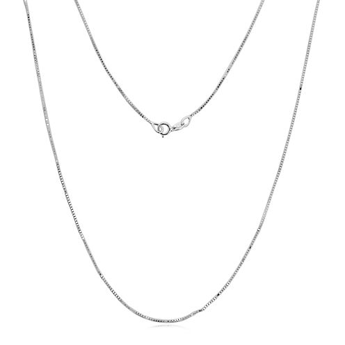 "Made in Italy 14K White Gold .75mm 16-24"" Box Chain"