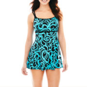 Robby Len by Longitude® Empire-Waist 1-Piece Swimdress