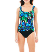 Robby Len by Longitude® Floral Print Sash 1-Piece Swimsuit