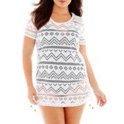 Wearabouts Shirred Crochet Tunic Cover-Up