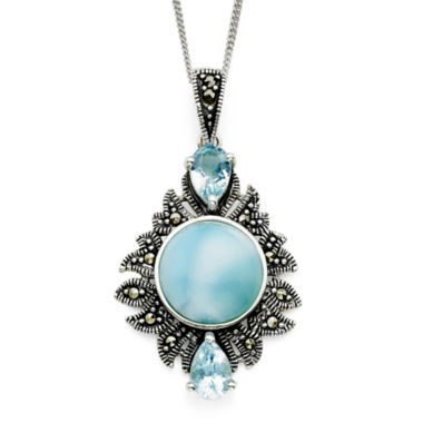 jcpenney.com | Genuine Larimar and Marcasite Sterling Silver Pendant Necklace