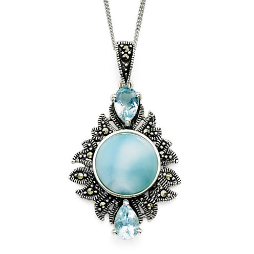 Genuine Larimar and Marcasite Sterling Silver Pendant Necklace