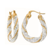Crystal-Accent 14K Yellow Gold Over Silver Swirl Hoop Earrings