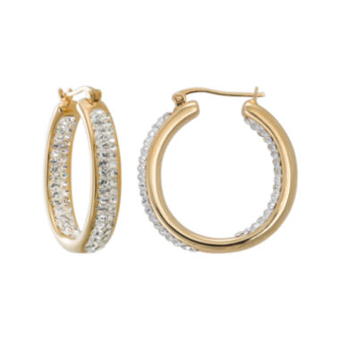 jcpenney.com | Crystal-Accent 14K Yellow Gold Over Silver Inside-Out Hoop Earrings