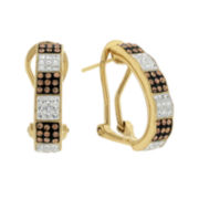 Crystal-Accent 18K Yellow Gold Over Silver Huggie Hoop Earrings