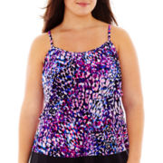 Jamaica Bay® Here Kitty Tiered Tankini Swim Top - Plus